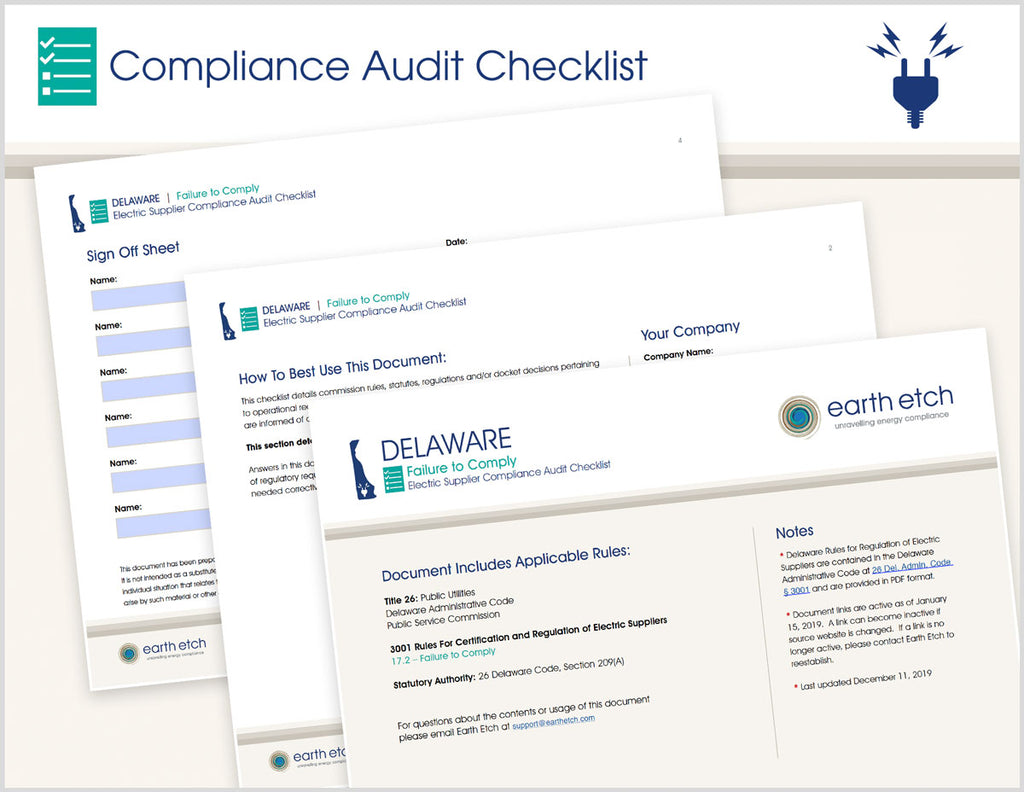 Delaware Failure to Comply - § 17.2 – Compliance Audit Checklist (Electric)