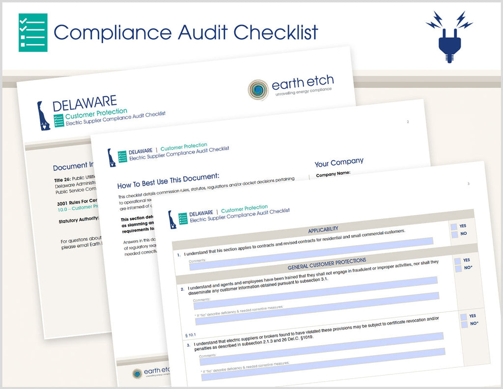Delaware Customer Protection - § 10.0 – Compliance Audit Checklist (Electric)
