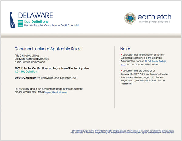 Delaware Compliance Audit Checklist BUNDLE (Electric)