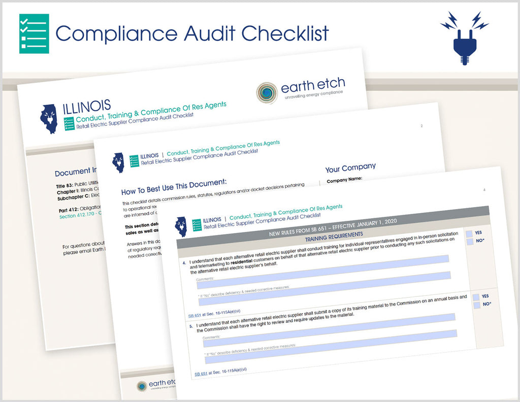 Illinois Conduct, Training & Compliance of RES Agents - §§ 412.170 & SB 651 16-115A – Compliance Audit Checklist (Electric)