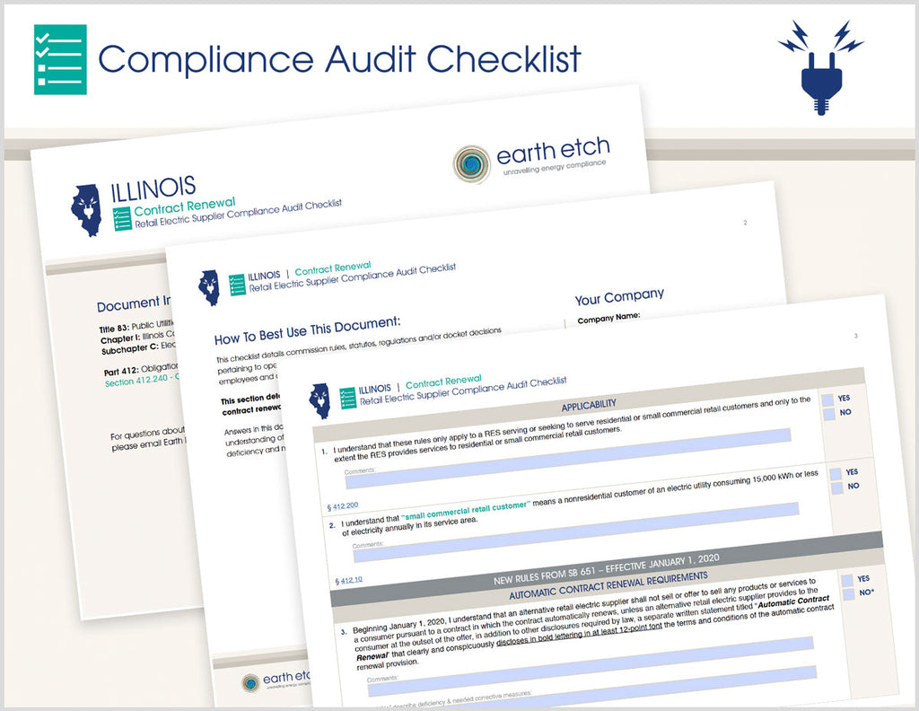 Illinois Contract Renewal - §§ 412.240 & SB 651 & 2EE – Compliance Audit Checklist (Electric)