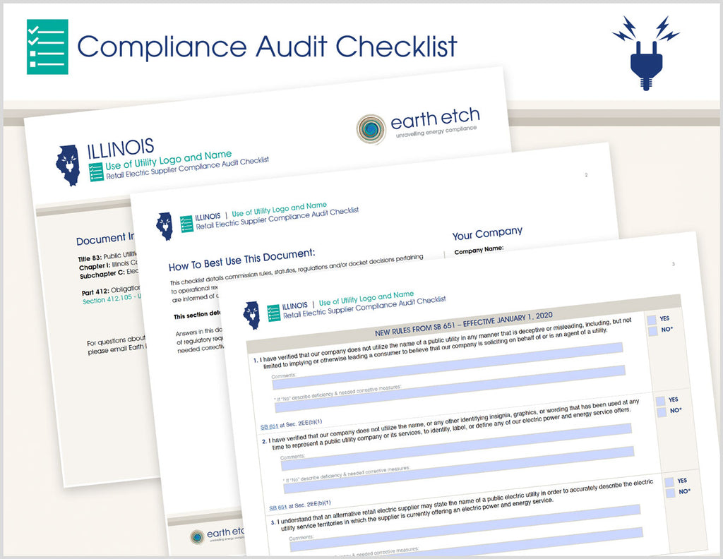 Illinois Use of Utility Logo and Name - § 412.105 & SB 651 §2EE  – Compliance Audit Checklist (Electric)