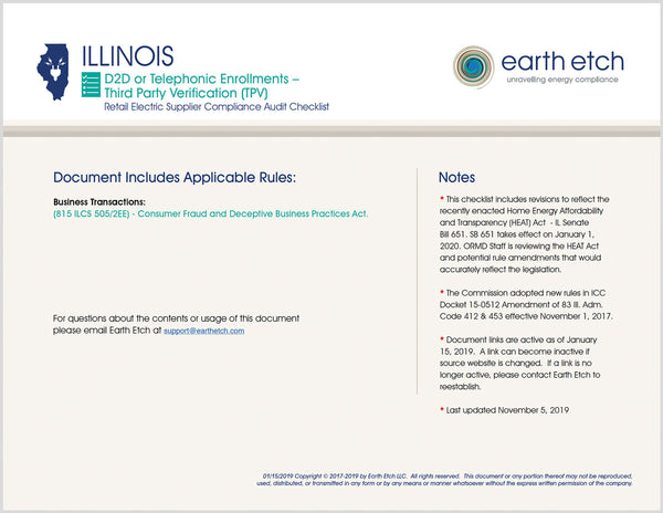Illinois Consumer Fraud & Deceptive Business Practices Act: D2D or Telephonic Enrollments Third Party Verification (TPV) – 815 ILCS 505/2EE & SB 651 – Compliance Audit Checklist (Electric)