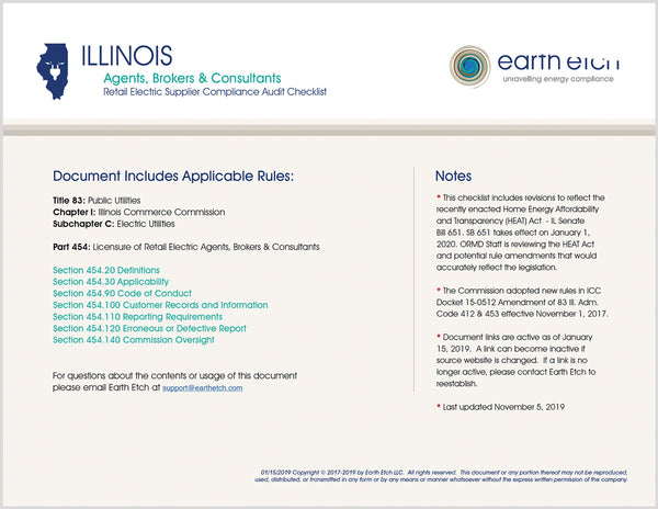 Illinois Agents, Brokers & Consultants - § 454 - Compliance Audit Checklist (Electric)