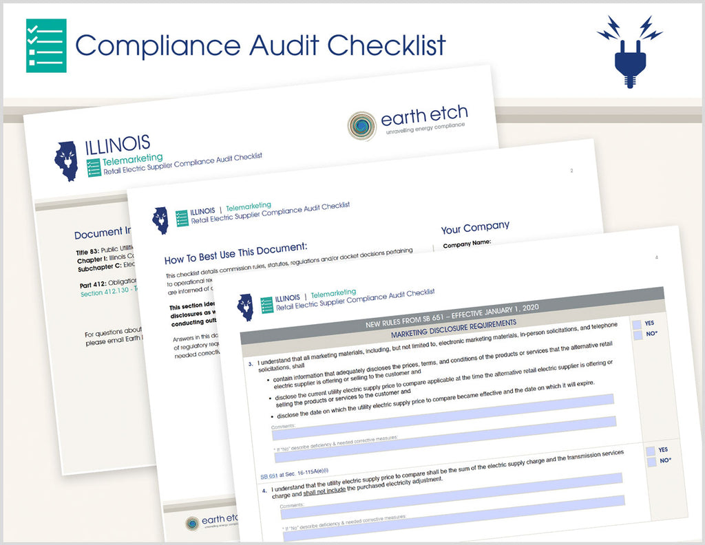 Illinois Telemarketing - §§ 412.130 & SB 651 16-115A & 2EE  – Compliance Audit Checklist (Electric)