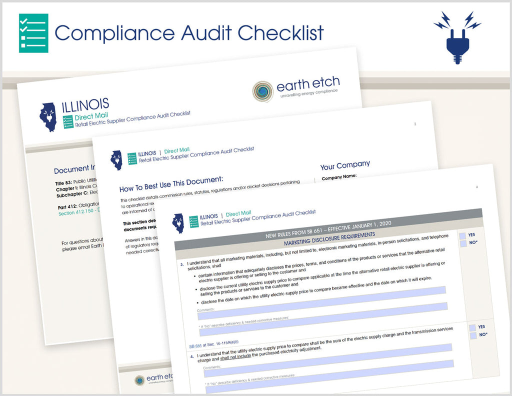 Illinois Direct Mail - §§ 412.150 & SB 651 16-115A & 2EE – Compliance Audit Checklist (Electric)