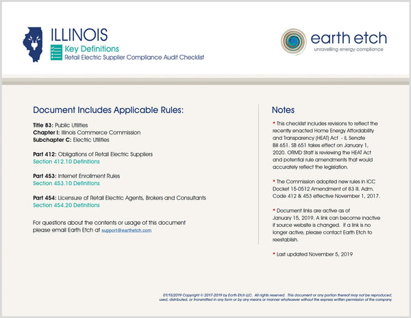 Illinois Compliance Audit Checklist BUNDLE (Electric)