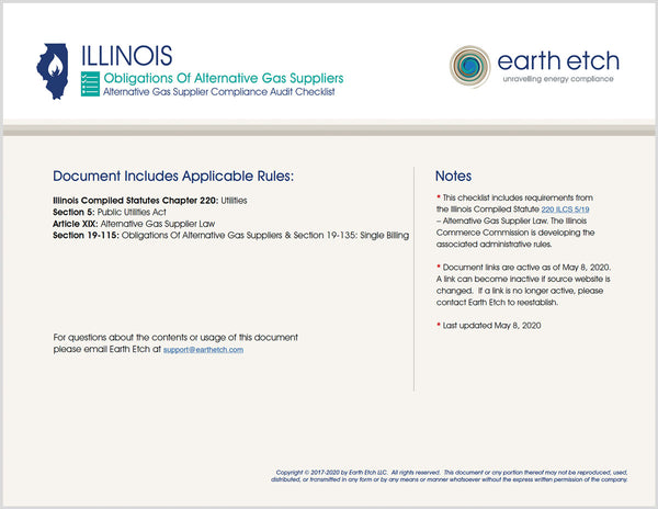 Illinois Obligations of Alternative Gas Suppliers - 220 ILCS 5/19-115 & 220 ILCS 5/19-135 – Compliance Audit Checklist (Gas)