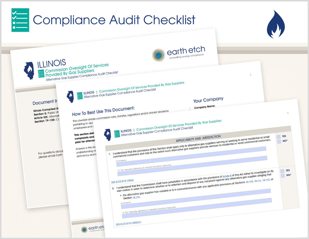 Illinois Commission Oversight of Services Provided to Gas Suppliers – 220 ILCS 5/19-120 – Compliance Audit Checklist (Gas)