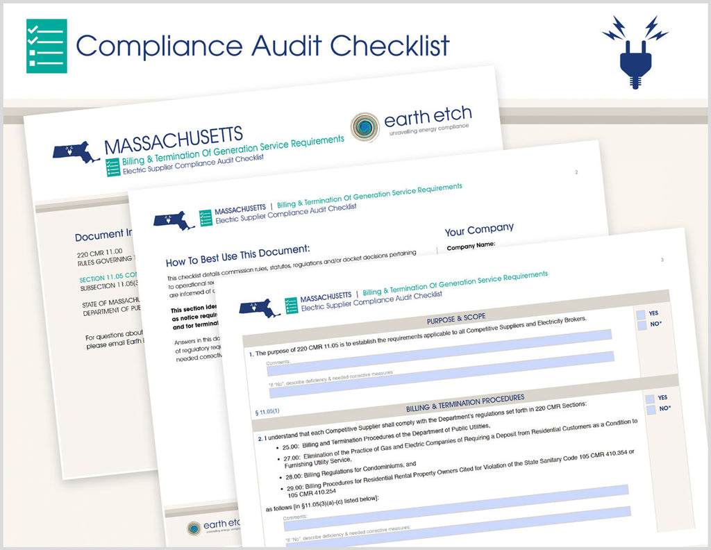 Massachusetts Billing & Termination of Generation Service Requirements - § 11.05(3) – Compliance Audit Checklist (Electric)