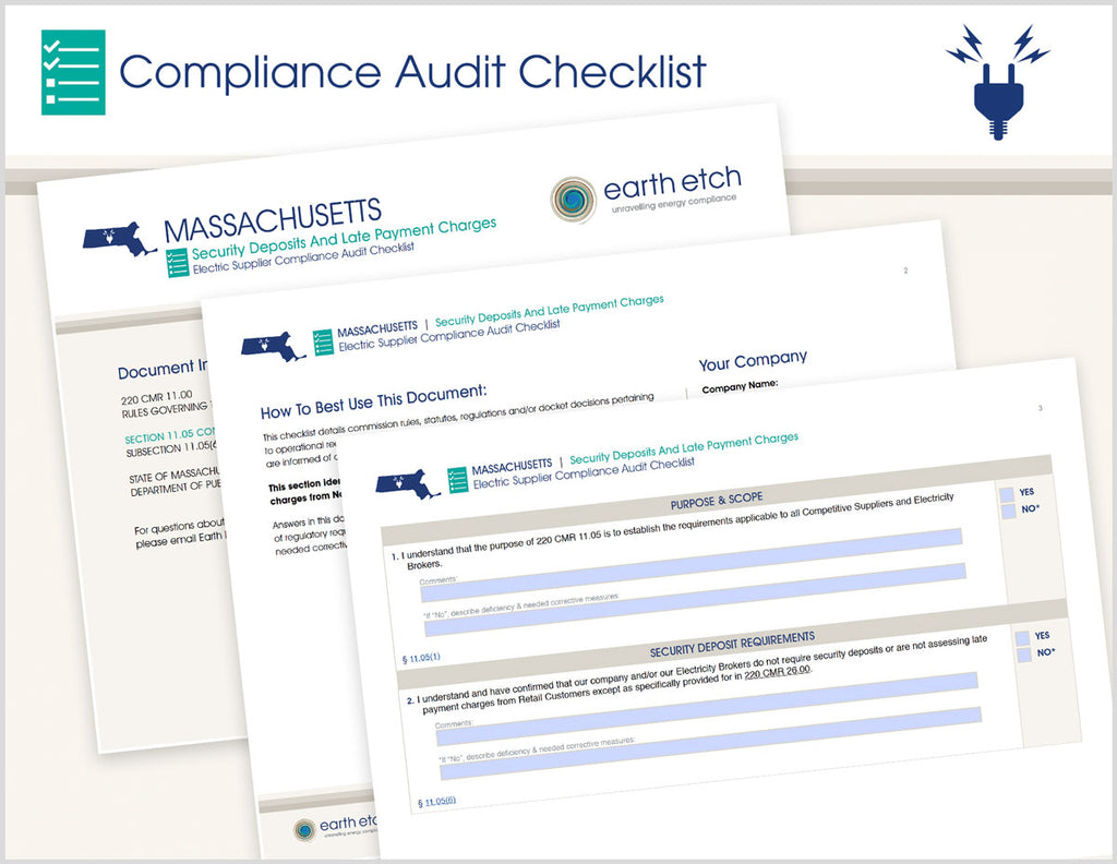 Massachusetts Security Deposits and Late Payment Charges - § 11.05(6) – Compliance Audit Checklist (Electric)