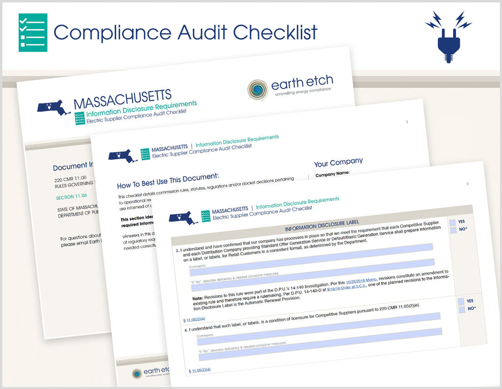Massachusetts Information Disclosure Requirements - § 11.06 – Compliance Audit Checklist (Electric)