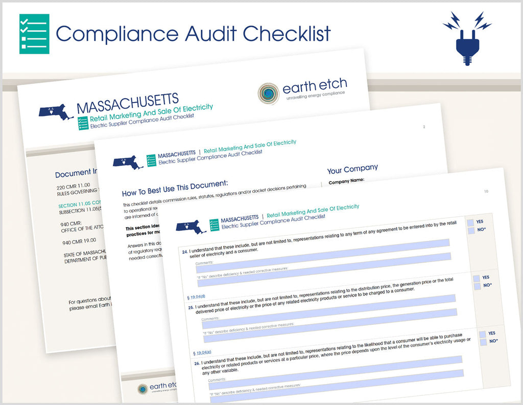 Massachusetts Retail Marketing and Sale of Electricity - §11.05(5) and §19.00 – Compliance Audit Checklist (Electric)