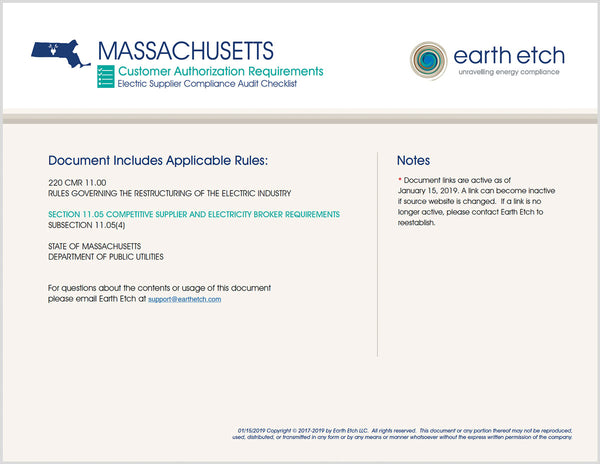 Massachusetts Compliance Audit Checklist BUNDLE (Electric)