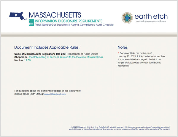 Massachusetts Information Disclosure Requirements - § 14.05 – Compliance Audit Checklist (Gas)