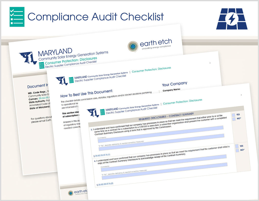 Maryland Consumer Protection: Disclosures – 20.62.05.07 and 20.62.05.10 – Compliance Audit Checklist (Community Solar)