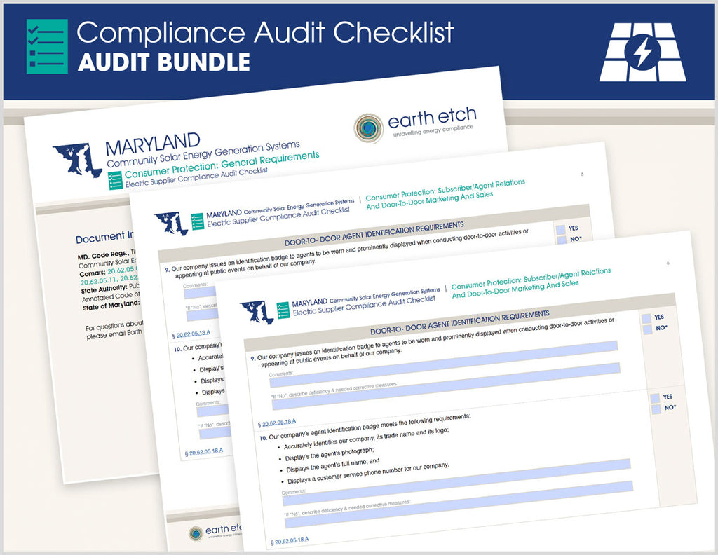 Maryland Compliance Audit Checklist BUNDLE (Community Solar)