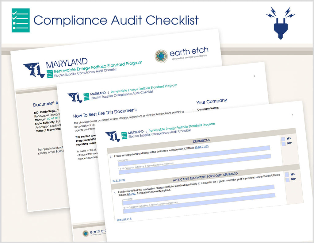 Maryland Renewable Energy Portfolio Standard Program – 20.61.01 through 20.61.06 – Compliance Audit Checklist (Electric)