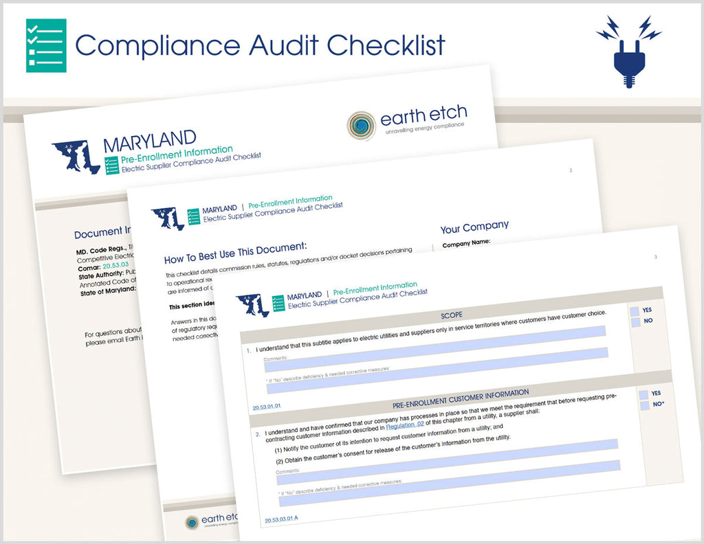 Maryland Pre-Enrollment Information – 20.53.03 – Compliance Audit Checklist (Electric)