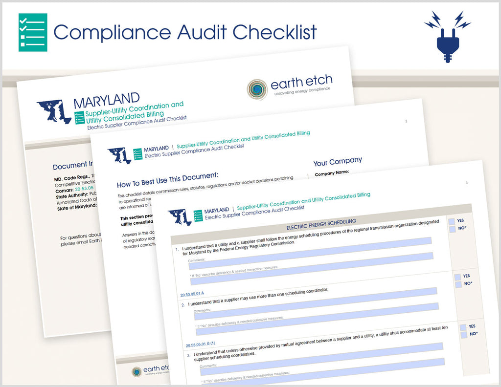 Maryland Supplier-Utility Coordination and Utility Consolidated Billing – 20.53.05 – Compliance Audit Checklist (Electric)