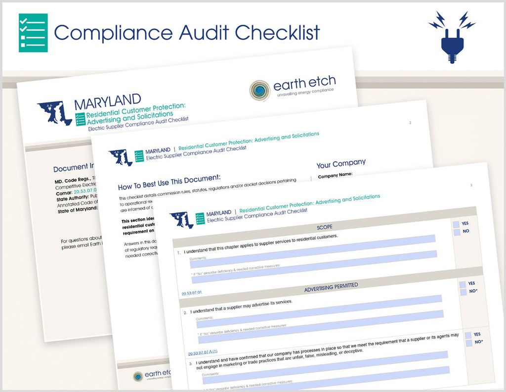 Maryland Residential Customer Protection: Advertising and Solicitations – 20.53.07.07 – Compliance Audit Checklist (Electric)