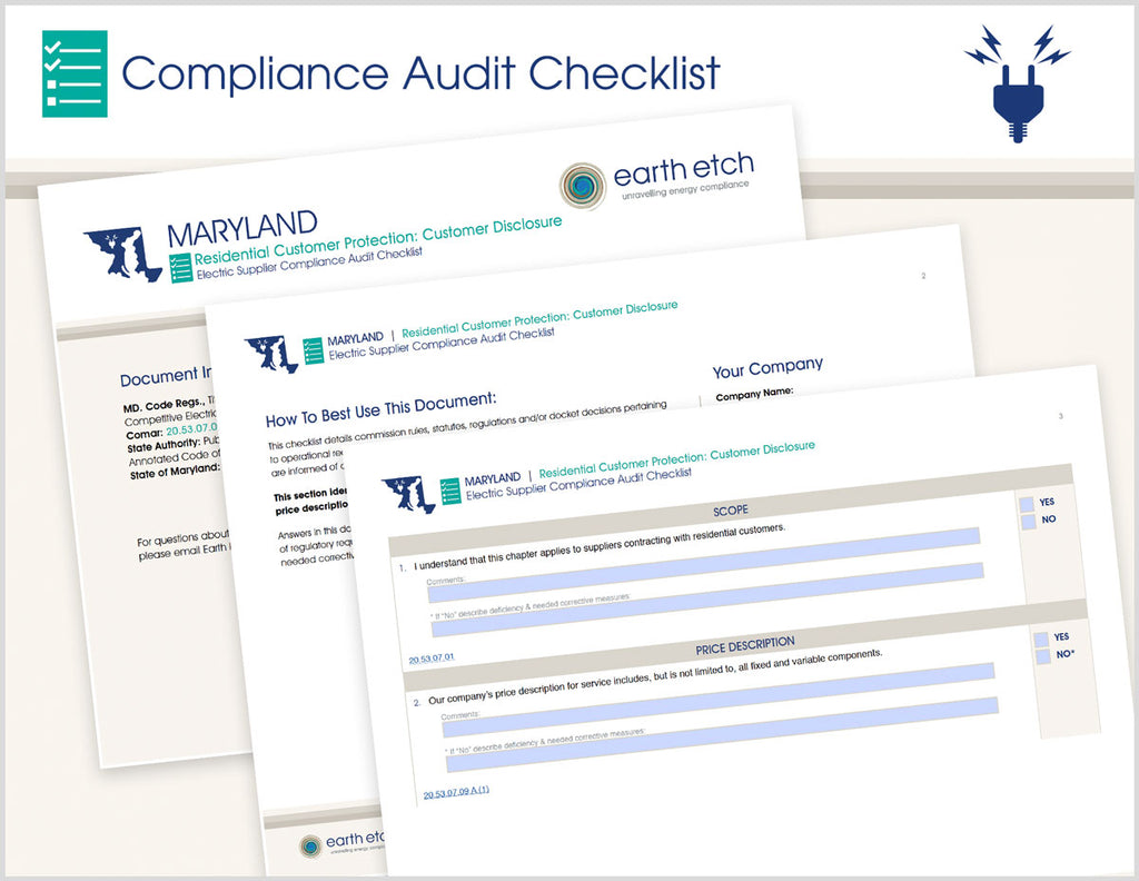 Maryland Residential Customer Protection: Customer Disclosure – 20.53.07.09 – Compliance Audit Checklist (Electric)