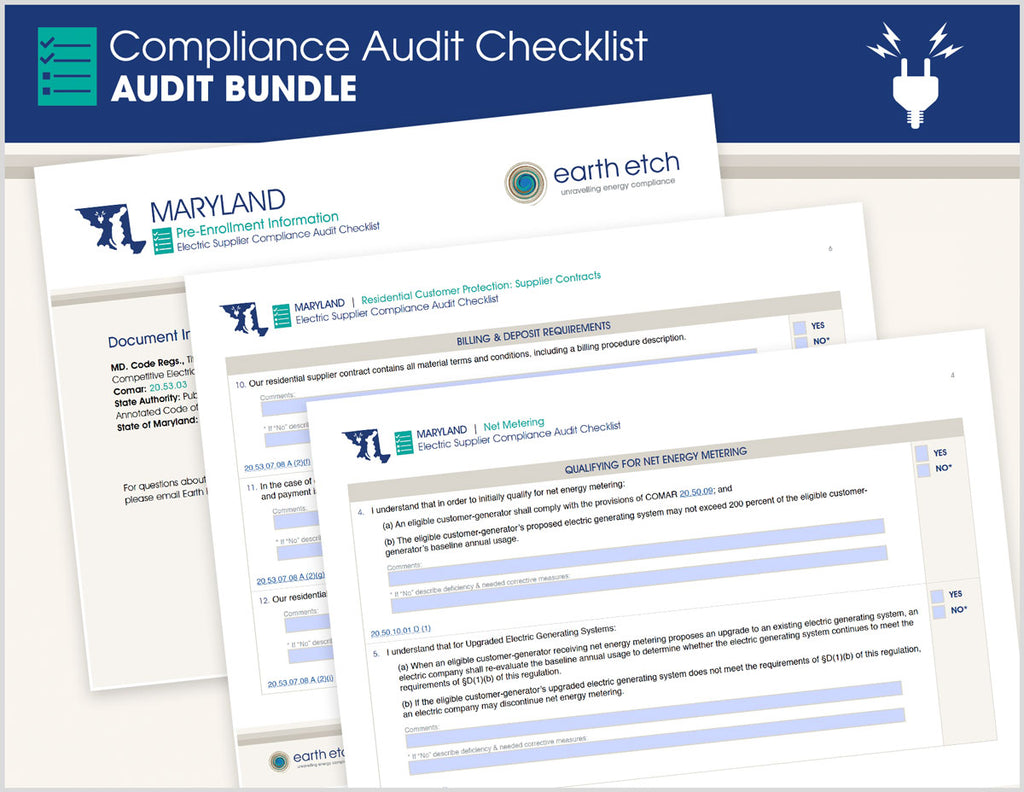 Maryland Compliance Audit Checklist BUNDLE (Electric)