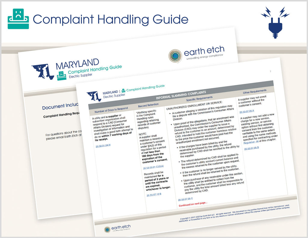 Maryland Complaint Handling Guide (Electric)