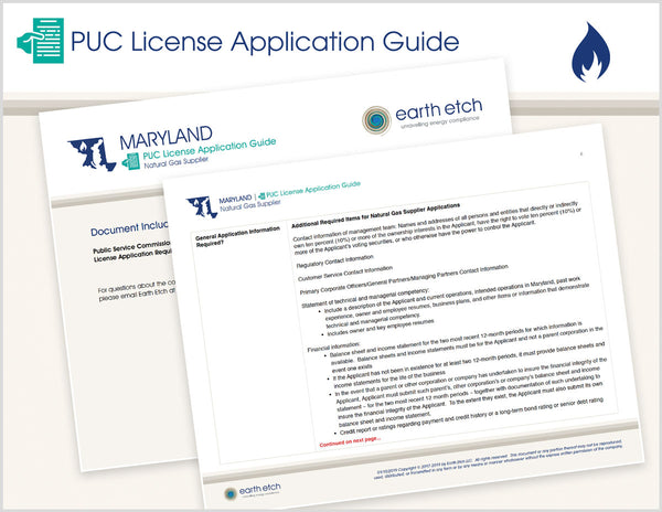 Maryland PUC License Application Guide (Gas)
