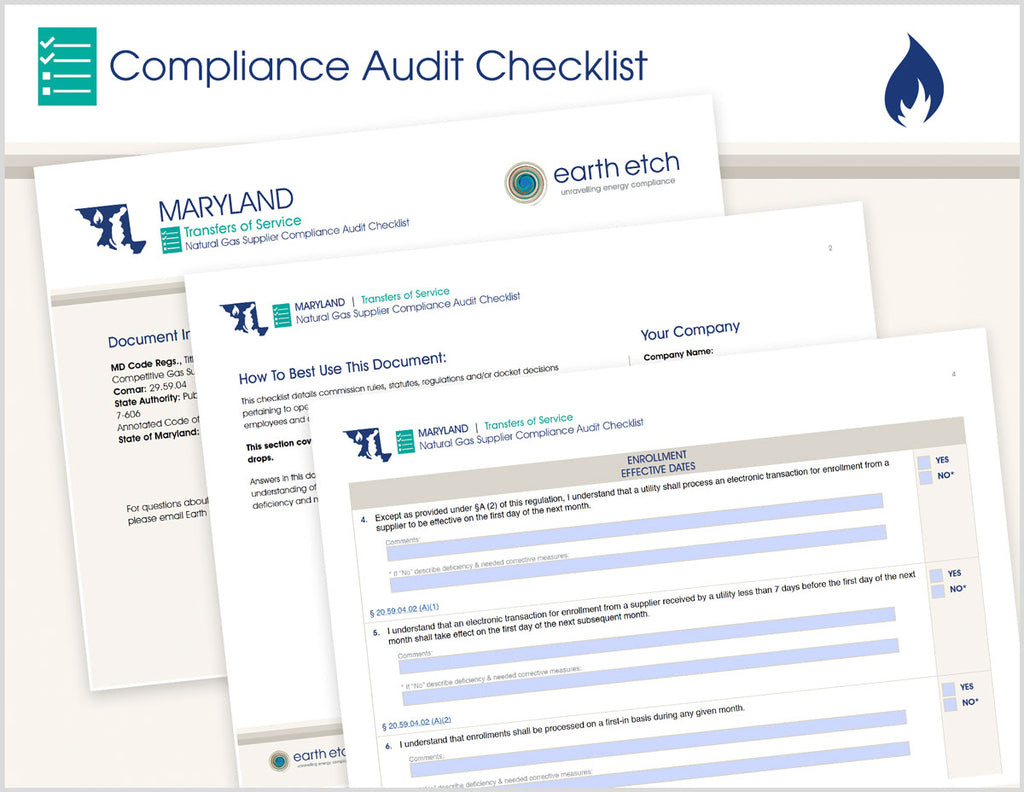 Maryland Transfers of Service - COMAR 20.59.04 – Compliance Audit Checklist (Gas)