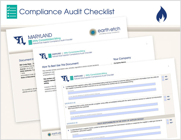 Maryland Utility Consolidated Billing – COMAR 20.59.05 – Compliance Audit Checklist (Gas)