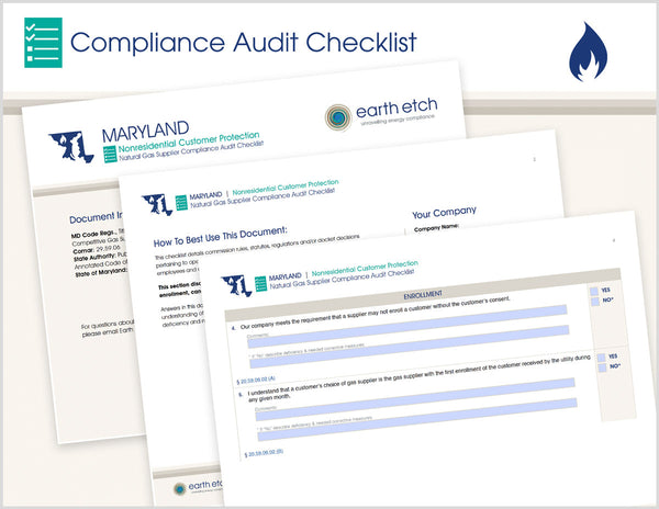 Maryland Nonresidential Customer Protection – COMAR 20.59.06 – Compliance Audit Checklist (Gas)