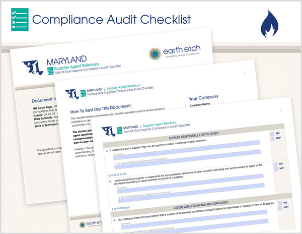 Maryland Supplier Agent Relations – COMAR 20.59.01 – Compliance Audit Checklist (Gas)