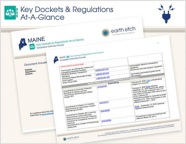 Maine Key Dockets & Regulations At-A-Glance (Electric)