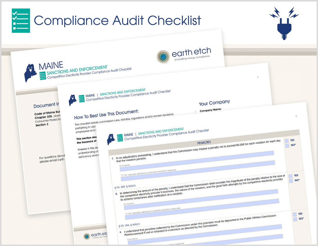 Maine Sanctions and Enforcement - Ch. 305, § 3 – Compliance Audit Checklist (Electric)
