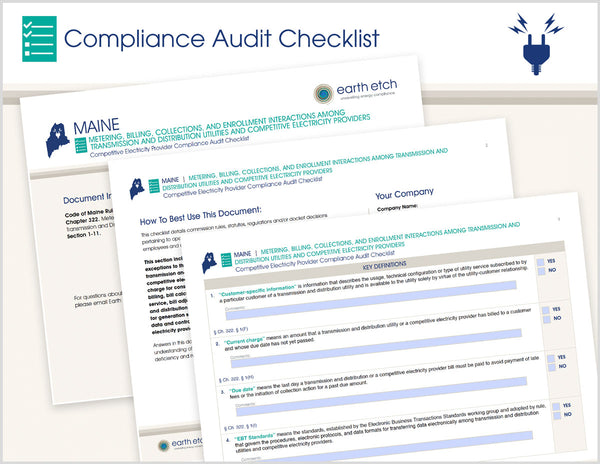 Maine Metering, Billing, Collections, & Enrollment - Ch. 322, §§ 1-11  – Compliance Audit Checklist (Electric)