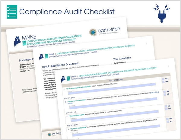 Maine Load Obligation & Settlement Calculations for Competitive Providers of Electricity - Ch. 321, §§ 1-10  – Compliance Audit Checklist (Electric)