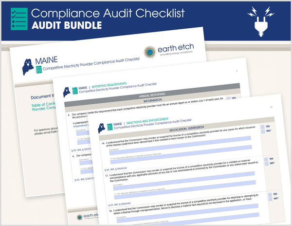 Maine Compliance Audit Checklist BUNDLE (Electric)