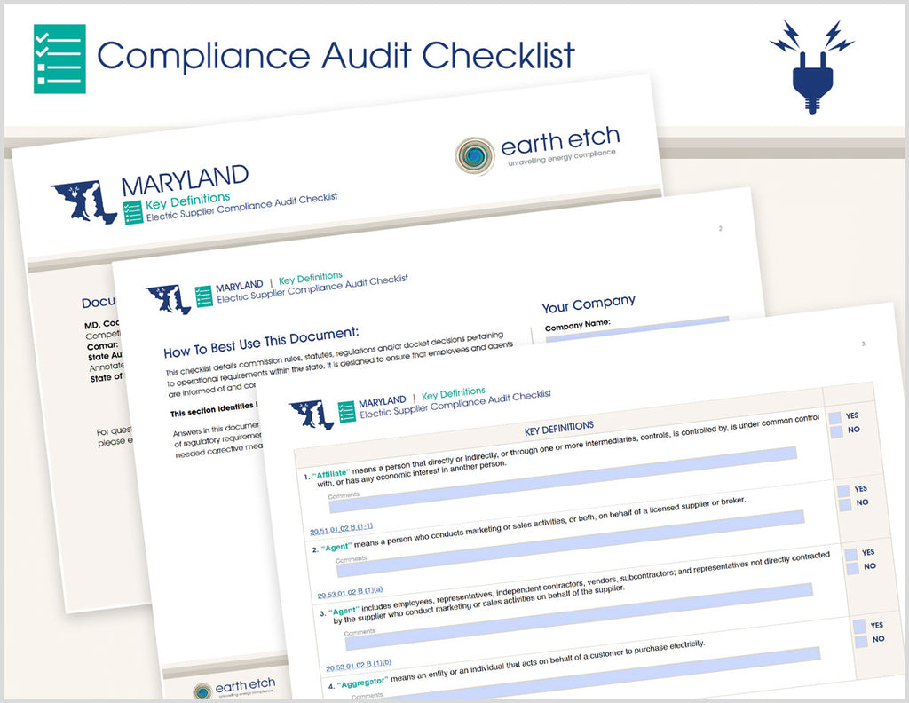 Maryland Key Definitions – 20.51.01.02 and 20.53.01.02 – Compliance Audit Checklist (Electric)