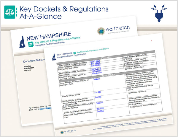 New Hampshire Key Dockets & Regulations At-A-Glance (Electric)