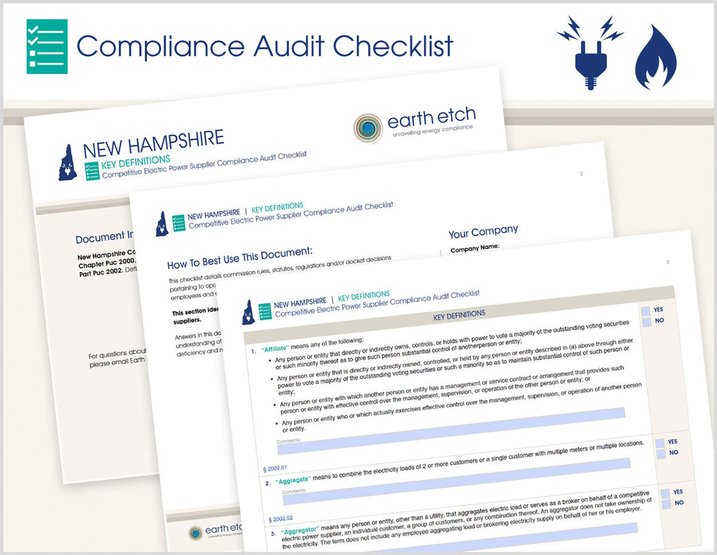 New Hampshire Key Definitions - Part 2002 – Compliance Audit Checklist (Electric)