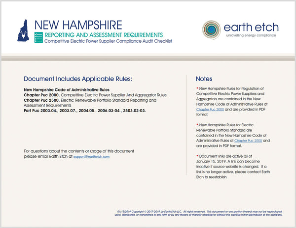New Hampshire Reporting and Assessment Requirements - Parts 2003, 2004.05, 2006.03, 2006.04, 2503.02, 2503.03 – Compliance Audit Checklist (Electric)