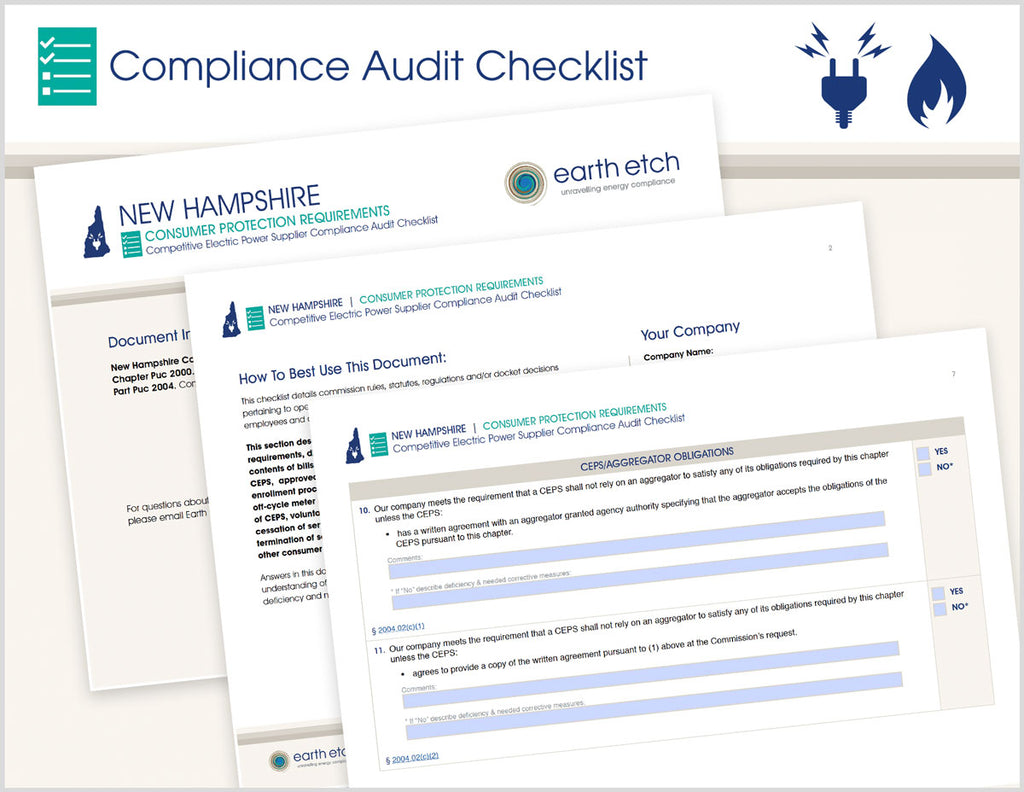 New Hampshire Consumer Protection Requirements - Part 2004 – Compliance Audit Checklist (Electric)