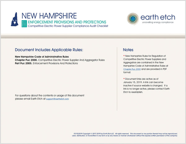 New Hampshire Enforcement Provisions and Protections - Part 2005 – Compliance Audit Checklist (Electric)