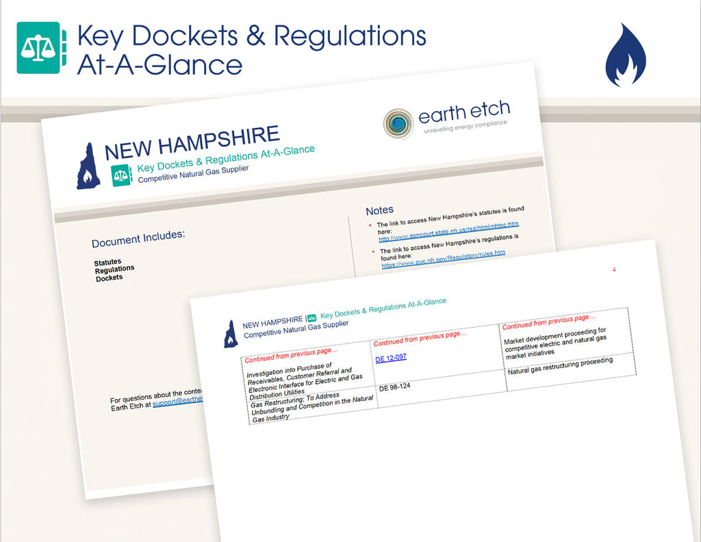 New Hampshire Key Dockets & Regulations At-A-Glance (Gas)
