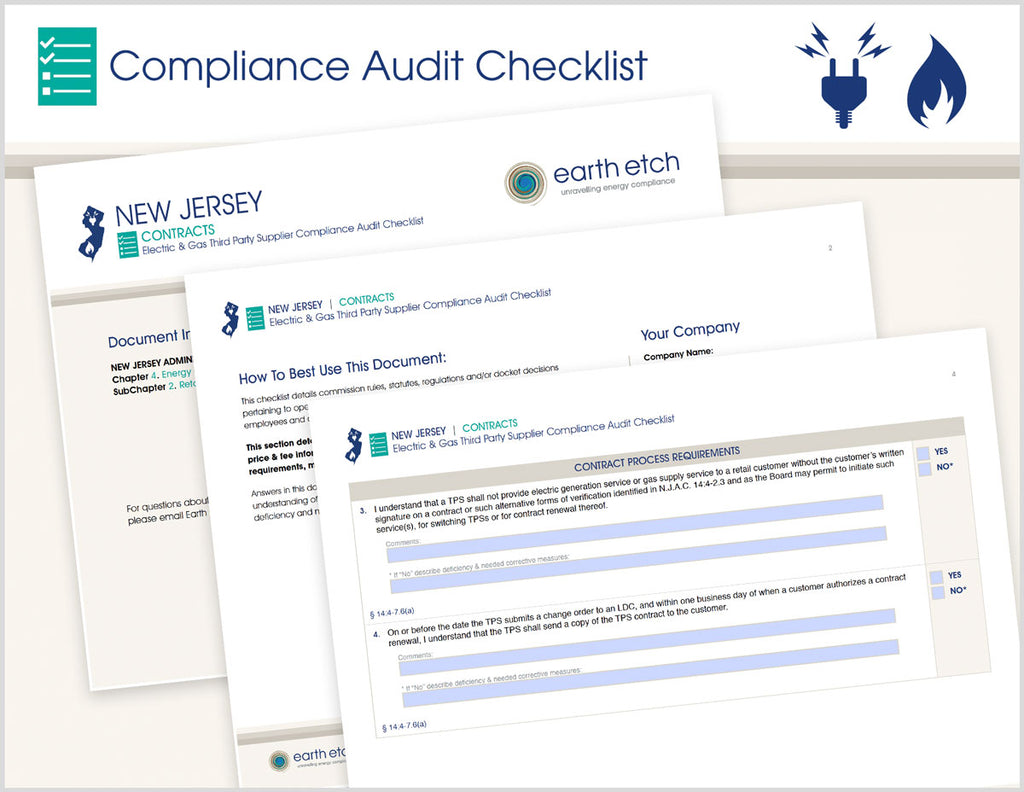 New Jersey Contracts - § 14:4-7.6 – Compliance Audit Checklist (Electric & Gas)