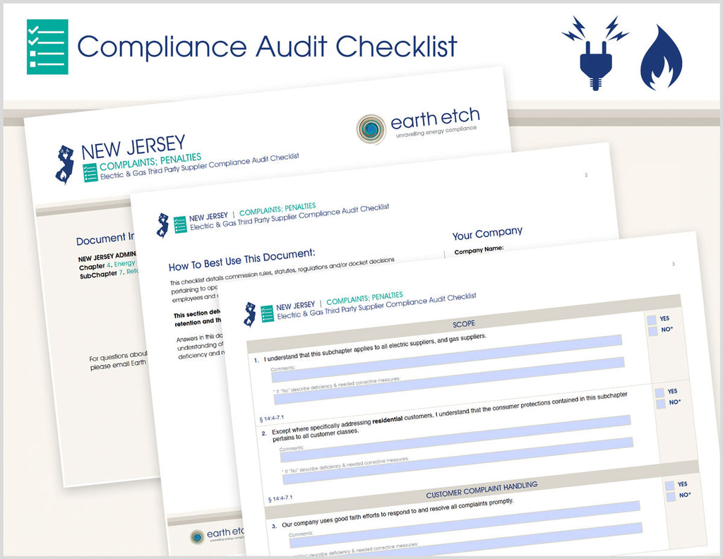 New Jersey Complaints; Penalties - §§ 14:4-7.9 and 14:4-7.13 – Compliance Audit Checklist (Electric & Gas)