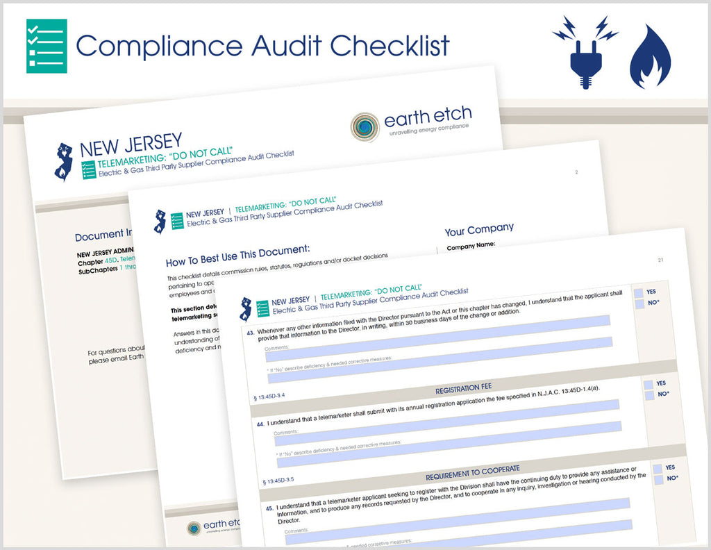 "New Jersey Telemarketing: ""Do Not Call"" - §13:45D – Compliance Audit Checklist (Electric & Gas)"