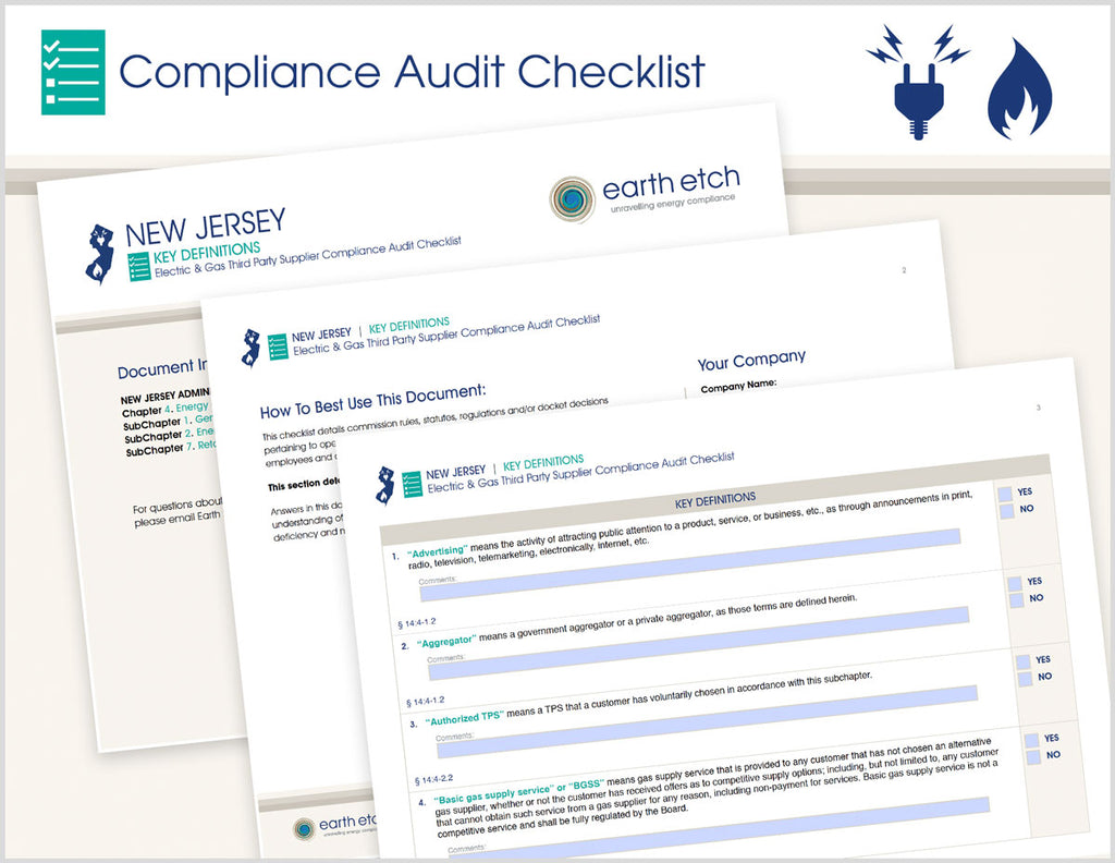 New Jersey Key Definitions - §§ 14:4-1.2, 14:4-2.2 and 14:4-7.2 – Compliance Audit Checklist (Electric & Gas)