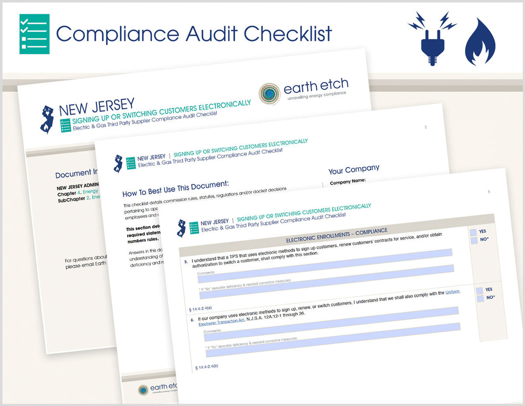 New Jersey Signing Up or Switching Customers Electronically - § 14:4-2.4 – Compliance Audit Checklist (Electric & Gas)